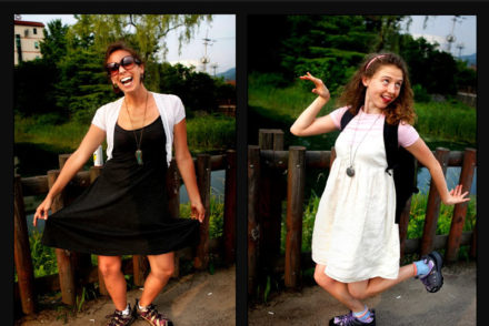 2 girls in dresses making silly faces