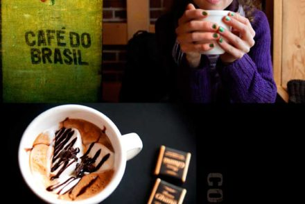 Composite of girl holding coffee mug, and a top down photo of artisanal coffee