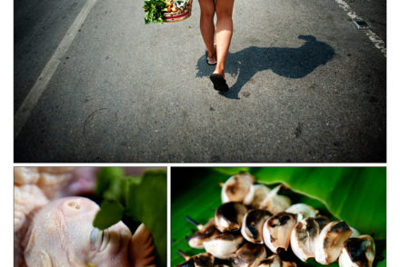 Composite photo of person walking away, some mushrooms, and food prep