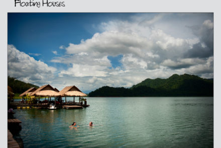 floating houses on a lake