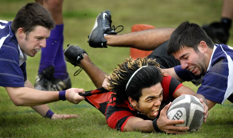 C.J. Buford, 19, of Glasgow Ky., scores a Try for the Western Kentucky University Rugby Club in their victory Saturday Oct. 27, 2007 at the Hattie L. Preston Intramural Field. (Photo by Mandy McConaha)