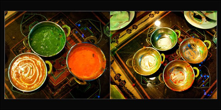 side by side photos of food dishes full, then emptied